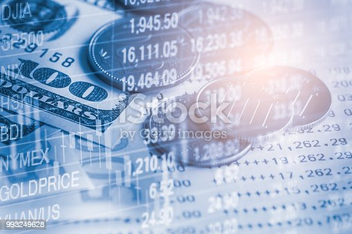 istock Business man on stock market financial trade indicator background. Man analysis stock market financial trade indices on LED. Double exposure of business man trade on stock market financial concept. 993249628