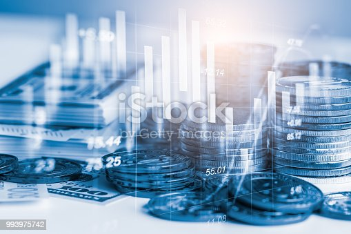 istock Business man on stock market financial trade indicator background. Man analysis stock market financial trade indices on LED. Double exposure of business man trade on stock market financial concept. 993975742