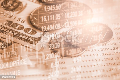 istock Business man on stock market financial trade indicator background. Man analysis stock market financial trade indices on LED. Double exposure of business man trade on stock market financial concept. 993975756