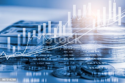 istock Business man on stock market financial trade indicator background. Man analysis stock market financial trade indices on LED. Double exposure of business man trade on stock market financial concept. 997318288