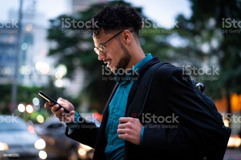 Business man on the move stock photo