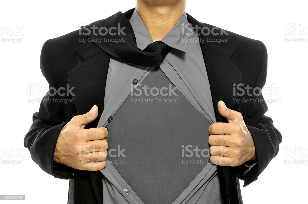 Business Man Open His Shirt stock photo
