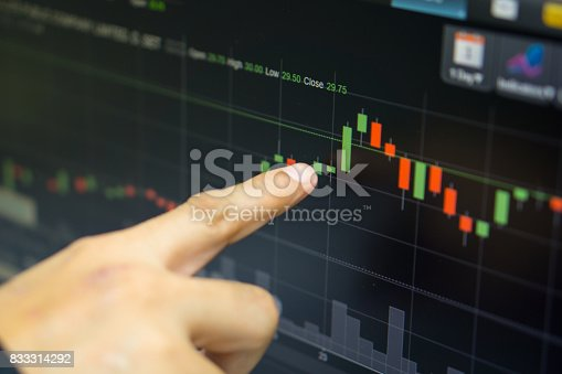 istock business man or broker point finger at green candle stick that stock prices skyrocket with indicator graph and volume bar for analysis stock market on led monitor background. business finance concept 833314292