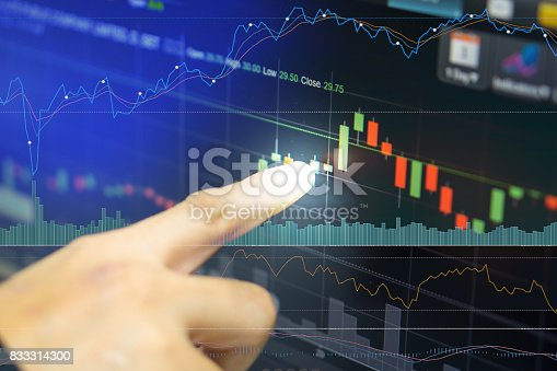 istock business man or broker point finger at green candle stick that stock prices skyrocket with indicator graph and volume bar for analysis stock market on led monitor background. business finance concept 833314300