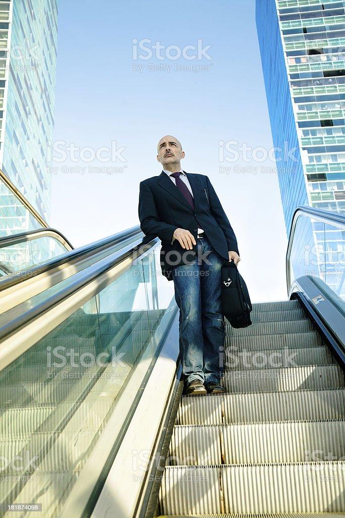 Business man, outdoors escalator royalty-free stock photo