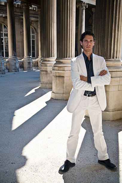 business man - white suit stock photos and pictures