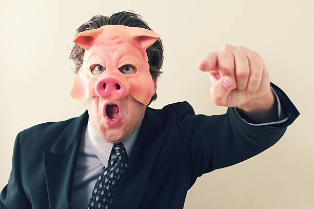business mann schwein chef - pig ugly stock-fotos und bilder