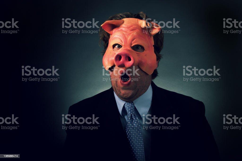 Business Man Pig Mask stock photo