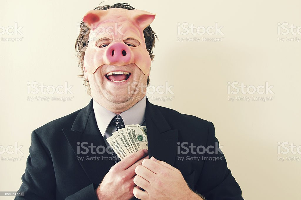 Business Man Pig Money stock photo