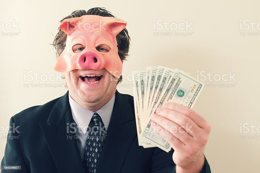Business Man Pig Money royalty-free stock photo
