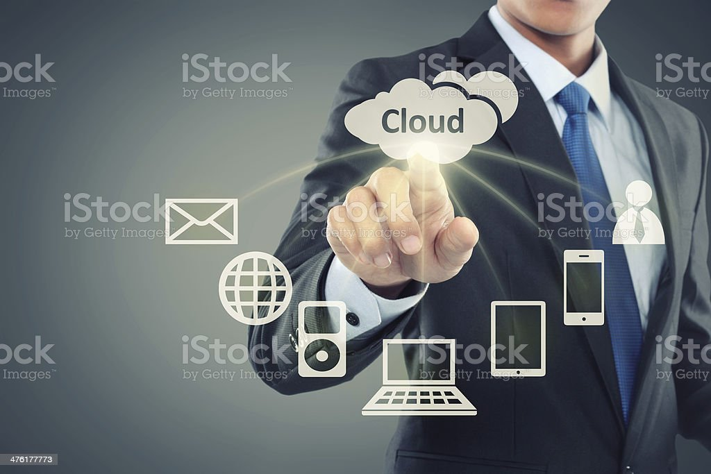 Business man pointing at cloud computing royalty-free stock photo