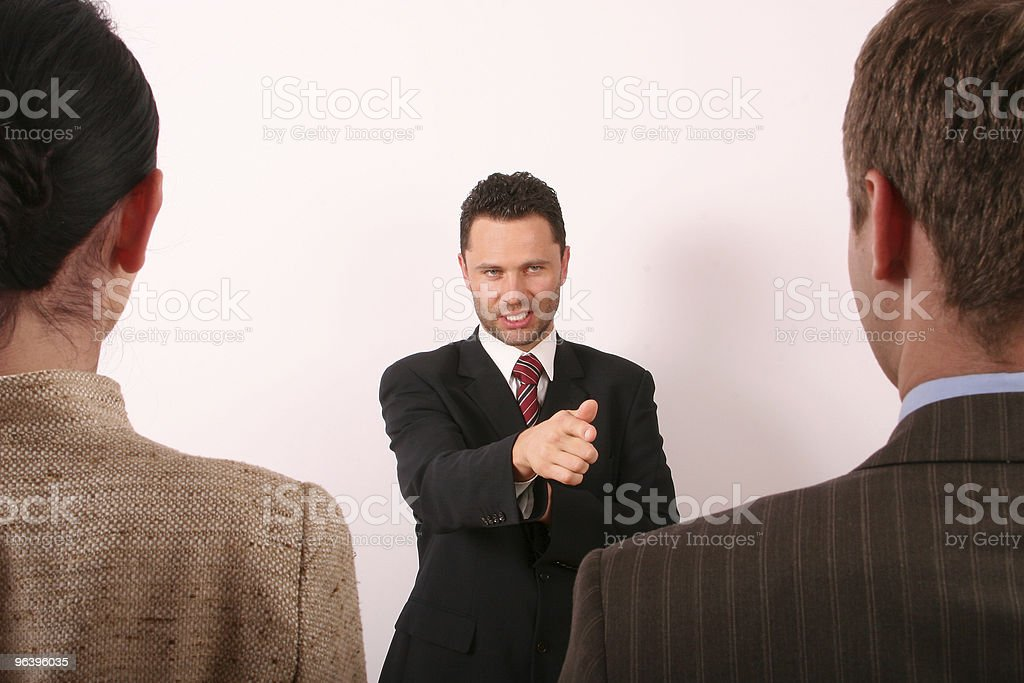 business man pointing at him - Royalty-free Adult Stock Photo