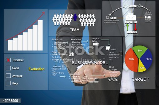istock Business man pointing to concept on digital screen 452735991