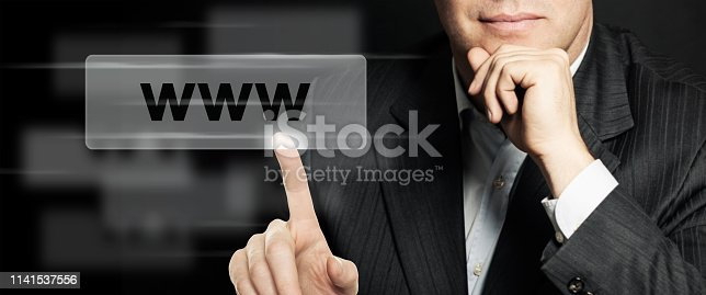 istock Business man pointing www address bar. Seo, internet marketing and advertising marketing concept. Human Hands Closeup 1141537556