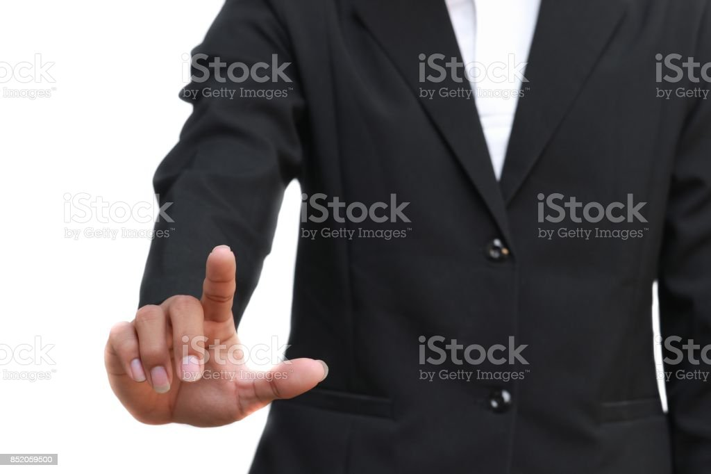 business man points his finger  on white background stock photo
