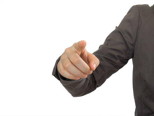 business man points his finger to you in white background stock photo