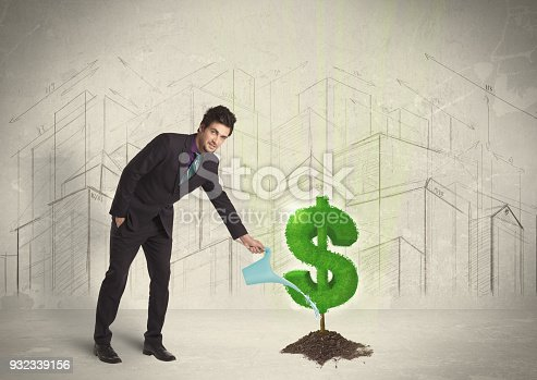 istock Business man poring water on dollar tree sign on city background 932339156
