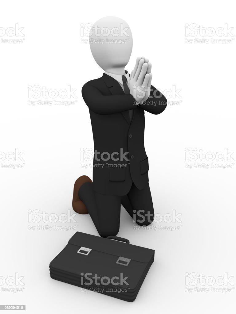 business man praying stock photo