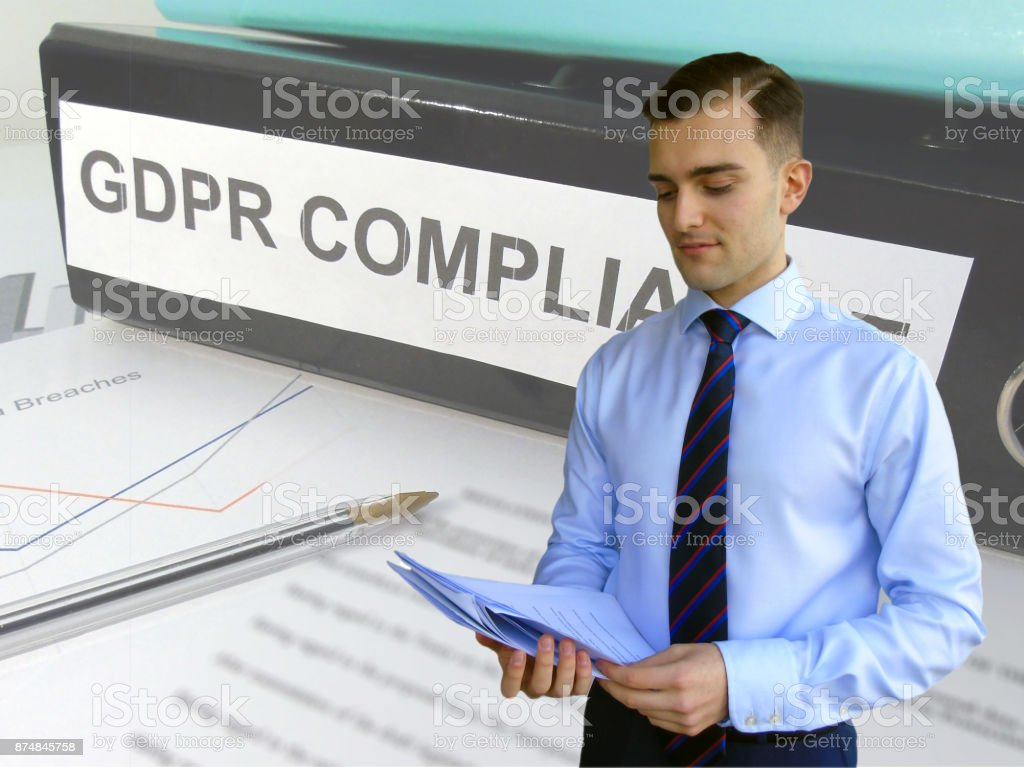 Business Man Preparing for General Data Protection Regulation (GDPR) Compliance stock photo