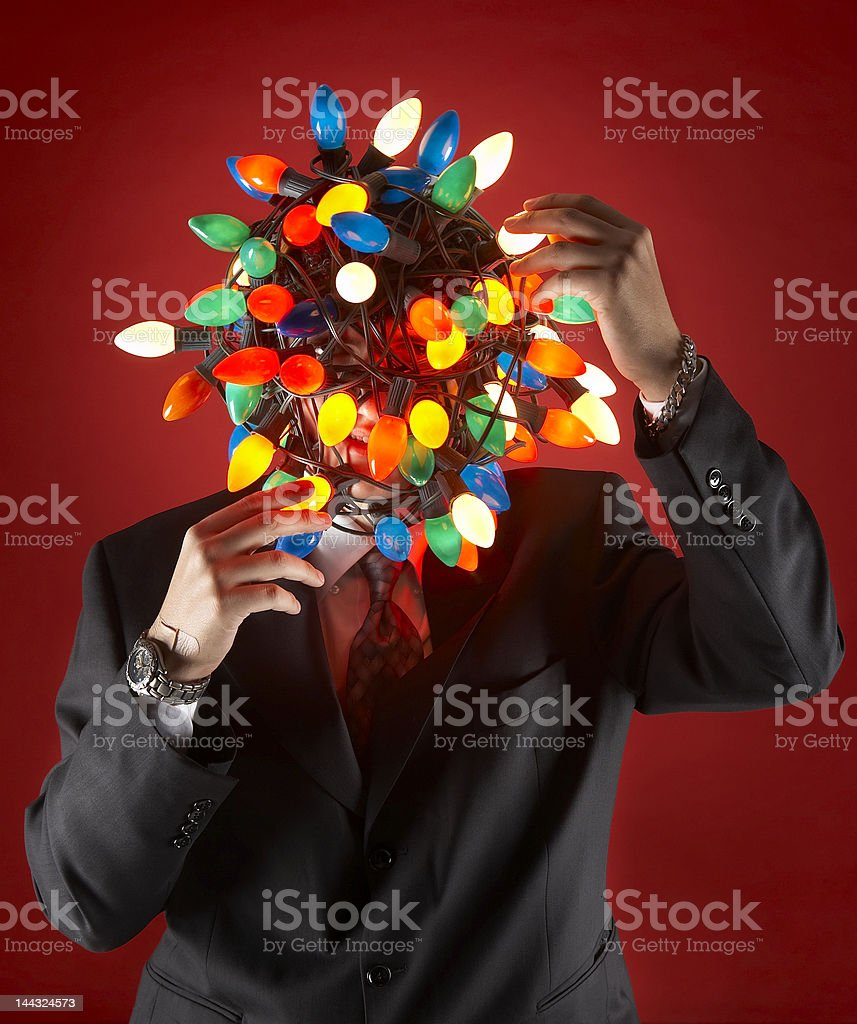 Business Man Preparing for the Christmas or Holiday Party royalty-free stock photo