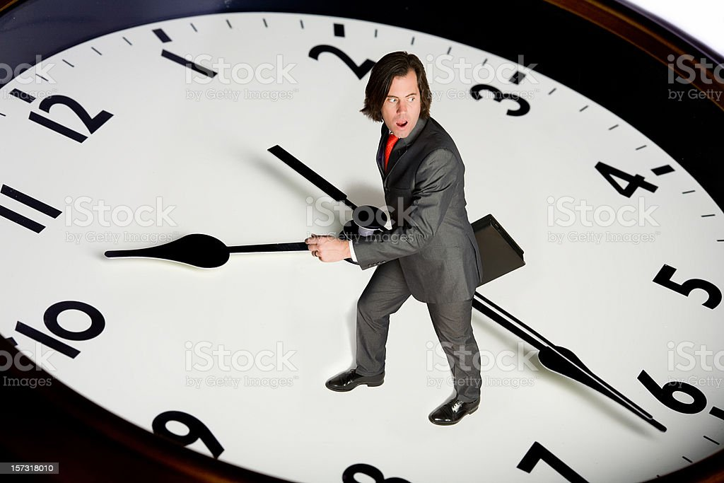business man races with time stock photo