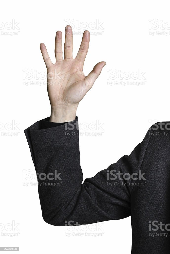 Business man raising hand stock photo