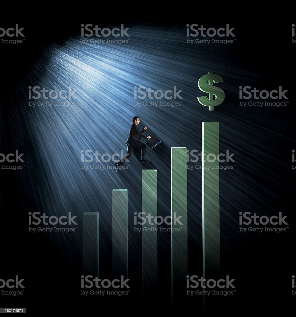 Business man reaching the top royalty-free stock photo