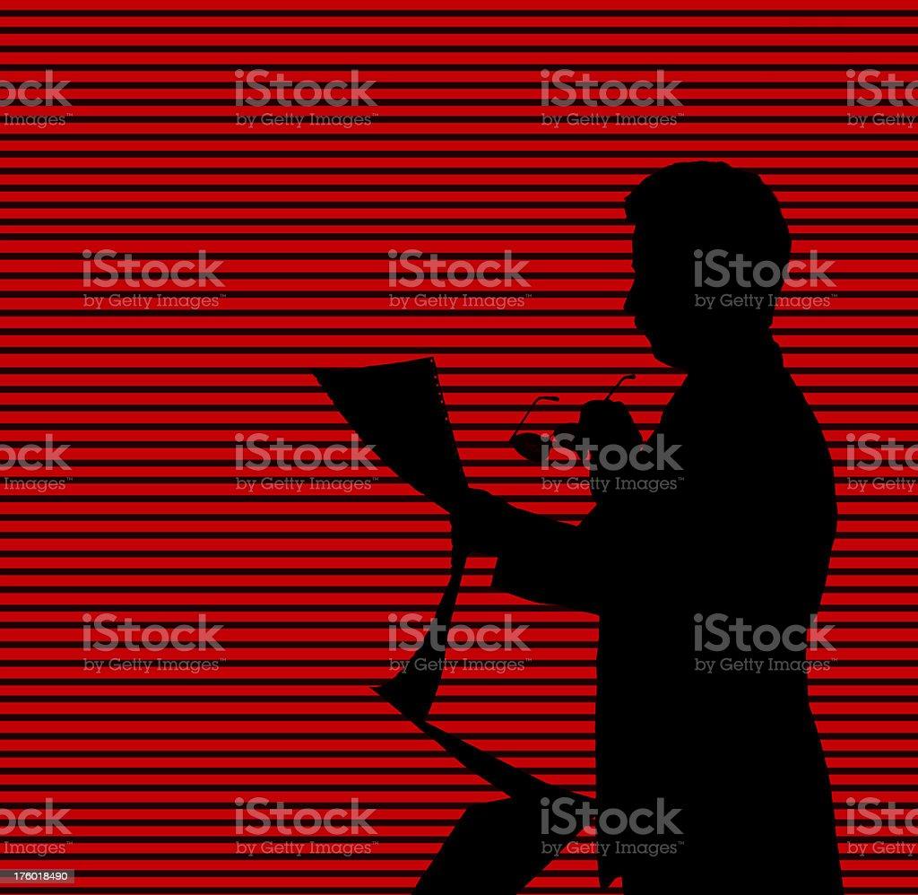 Business man reading computer printout royalty-free stock photo