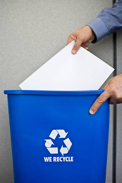 Business man Recycling Paper stock photo