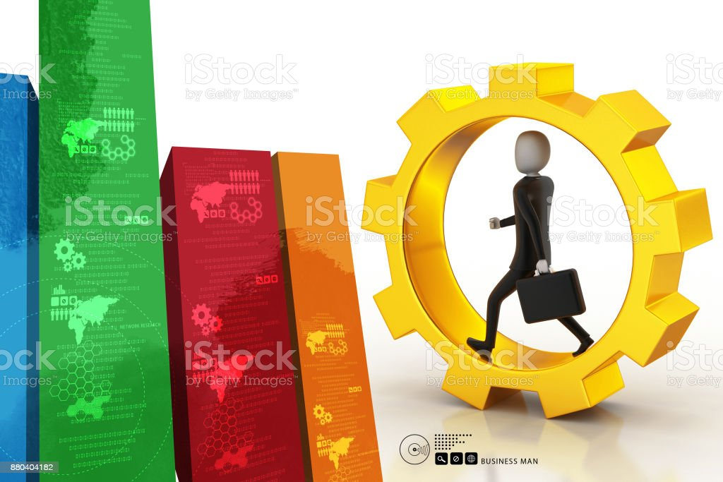 Business man running in gear wheels stock photo