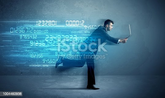 513396643 istock photo Business man running with device and data concept 1004460938
