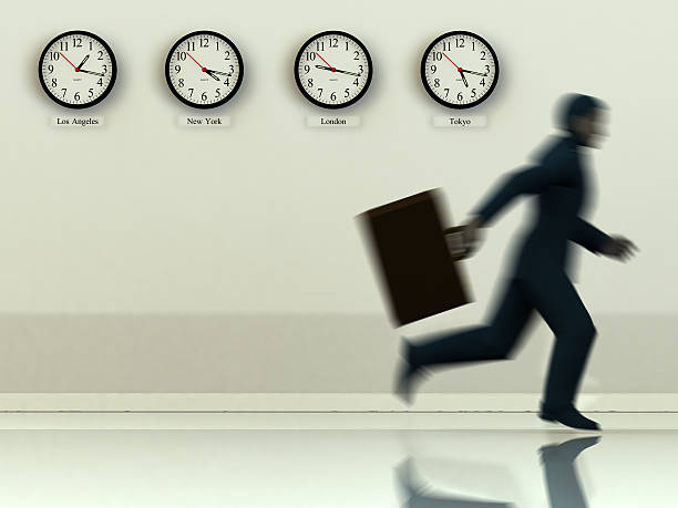 Business man running with suitcase with different time zone stock photo