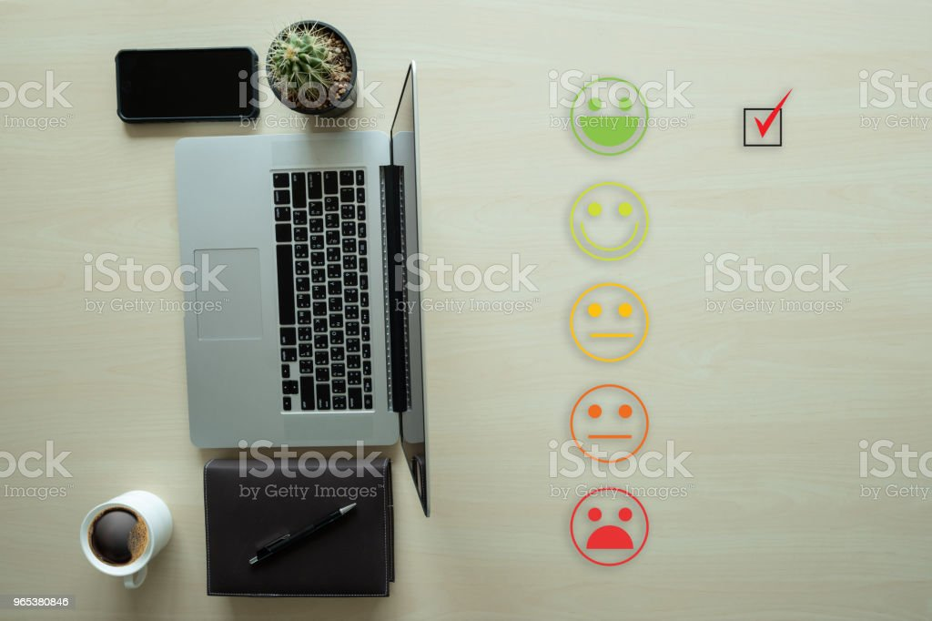 business man select happy on satisfaction evaluation? And good mood smiley royalty-free stock photo