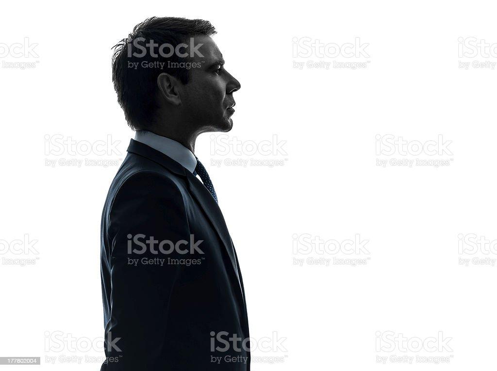 Retrato de un hombre de negocios serio perfil de silhouette foto de stock libre de derechos