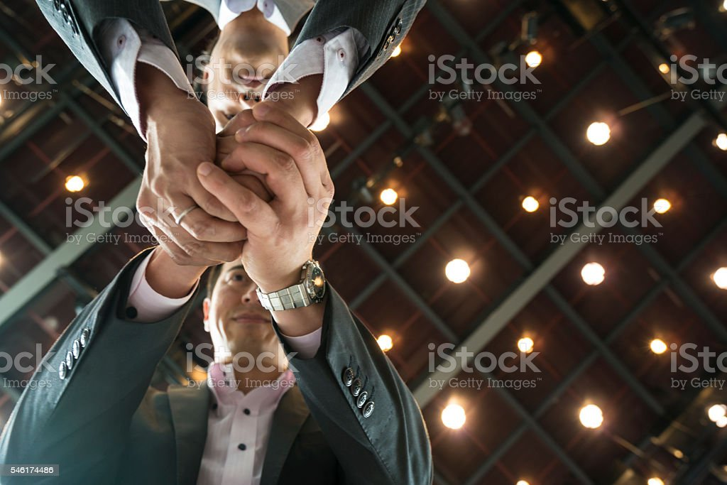 Business man  shaking hands at KRP in Kyoto, Japan stock photo