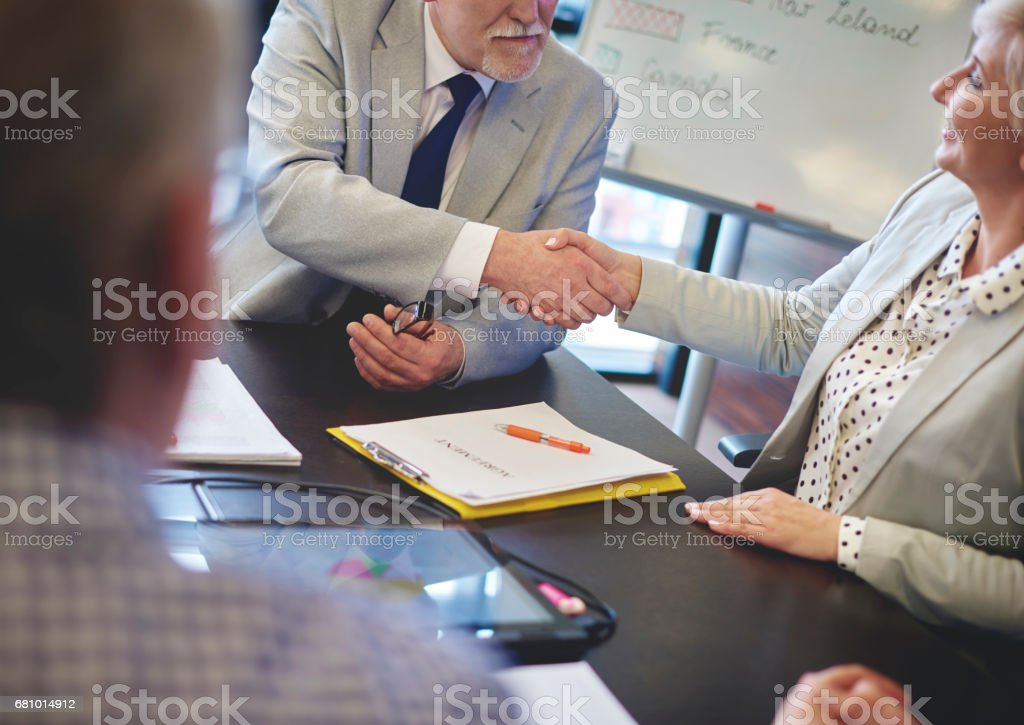 Business man shaking hands with business woman royalty-free stock photo