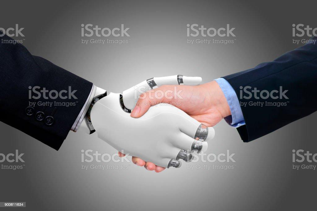 Geschäftsmann, Händeschütteln mit Roboter – Foto