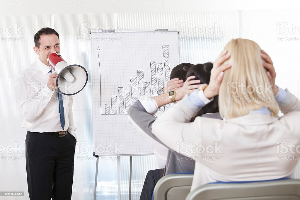 Business Man Shouting In Megaphone royalty-free stock photo