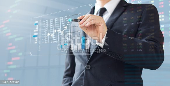 business man show increase market share, growth of profit investment