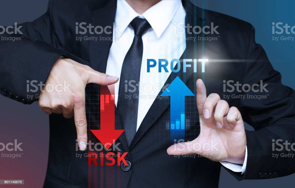 business man show increase profit and decrease risk of investment,...