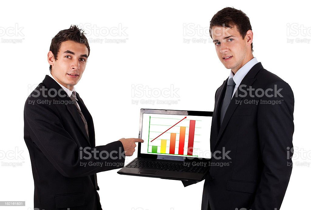 business man show on laptop with chart business man show on laptop with chart, isolated on white background Adult Stock Photo