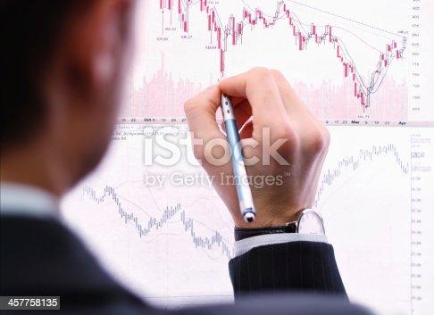 istock Business man showing chart bar 457758135