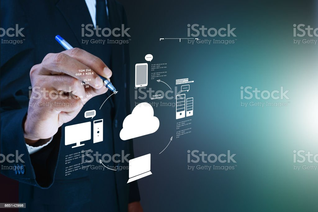 Business man showing concept of cloud computing. stock photo