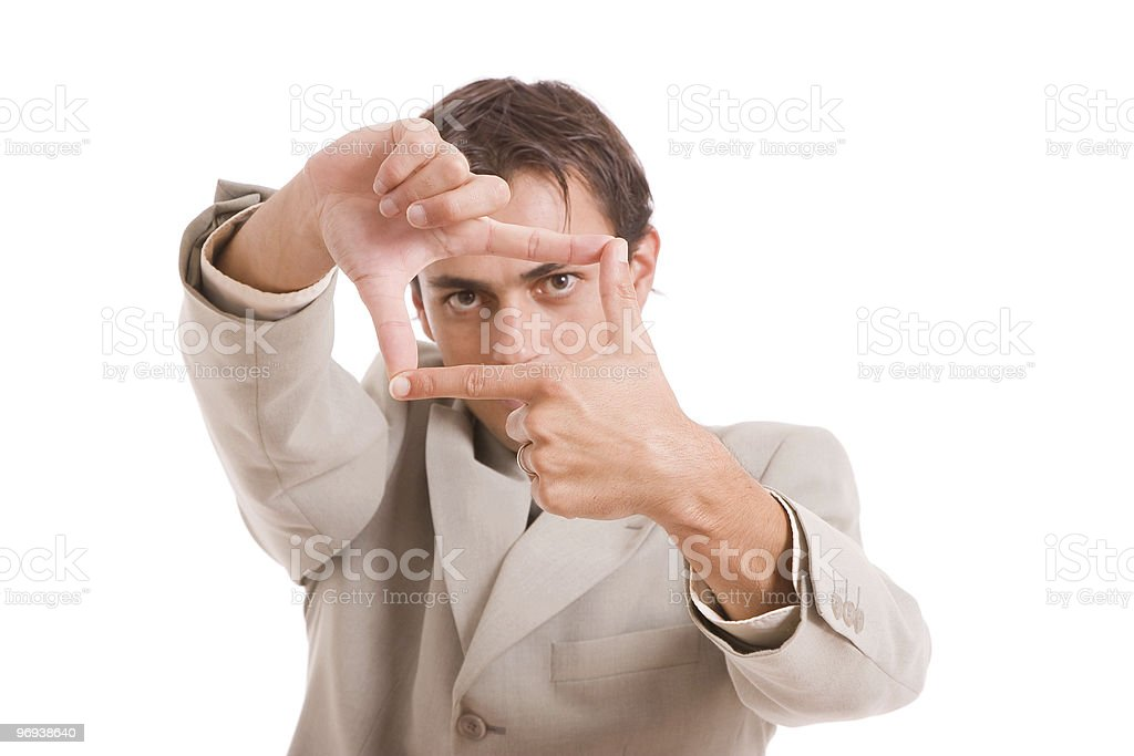 Business man showing frame hand gesture royalty-free stock photo