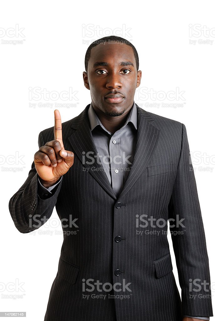 Business man showing one finger royalty-free stock photo