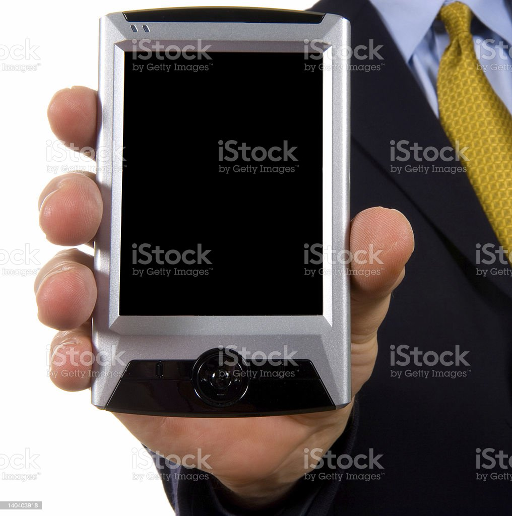 Business man showing personal digital assistant royalty-free stock photo