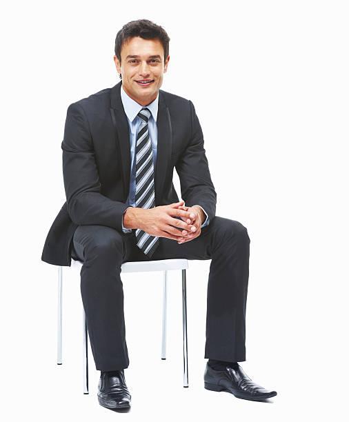 ビジネスの男性のラウンジと白背景 ストックフォト