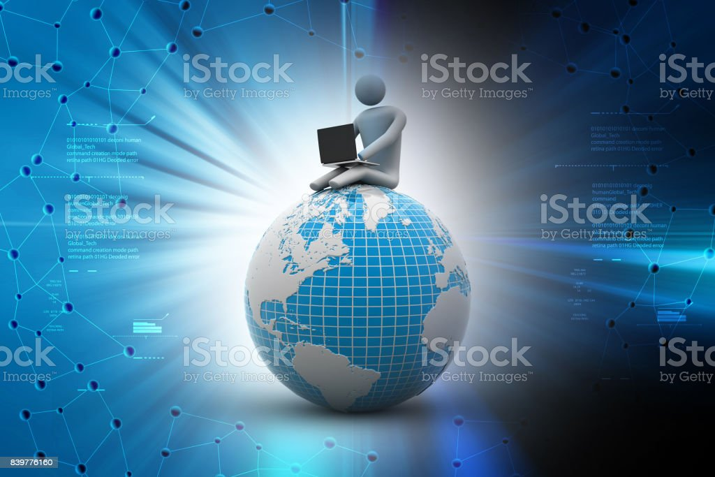 cf01a2cbf002 Business man sitting on top of the globe in color background - Stock image .