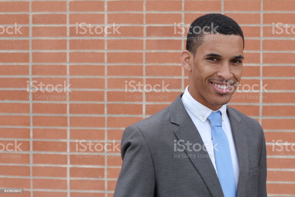 Business Man Smiling with Copy Space stock photo