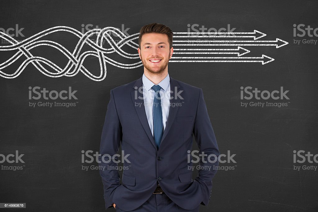 Business Man Solution Concept on Chalkboard stock photo